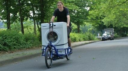 Transport einer Waschmaschine? Kein Problem für unser Long Harry Cargobike!