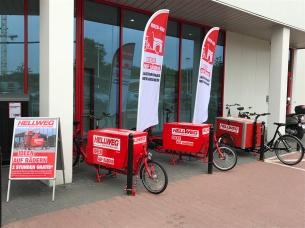 eHarry brose (Sonderedition CrMo) bei Hellweg Berlin, Münster und Bocholt im Einsatz - mit Pedalpower Messenger Kiste