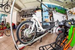 Ausstellung von Tandems und Cargobikes, auch elektrifiziert