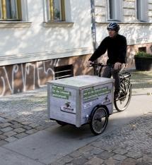 Die toom Baumärkte setzten ebenfalls auf das Berliner Lastenrad