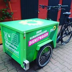 """Cargobike """"Berliner Lastenrad"""" mit Brose Mittelmotor - hier als Wahlkampf-Lastenrad mit individuellem Design - handmade in Berlin"""